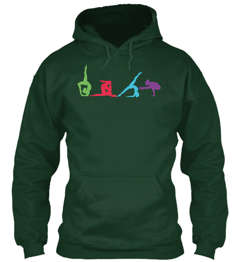 Hoodie Four Yoga Poses Forest Green T-Shirt Front