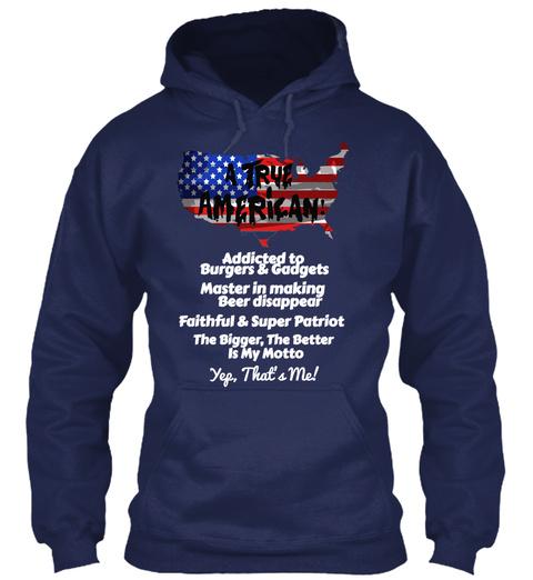 True American Hoodie Navy T-Shirt Front