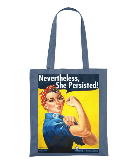"""Nevertheless, She Persisted!"" Retro Graphite Tote Bag Front"