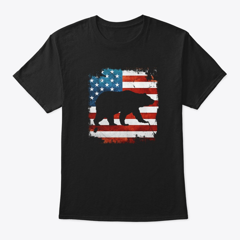 Papa Bear 4th July With American Flag  Black T-Shirt Front