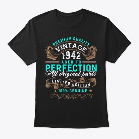 Vintage Born In 1942   Birthday Black T-Shirt Front