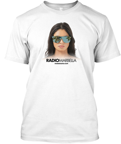 Radio Marbella   Girl Glasses White T-Shirt Front