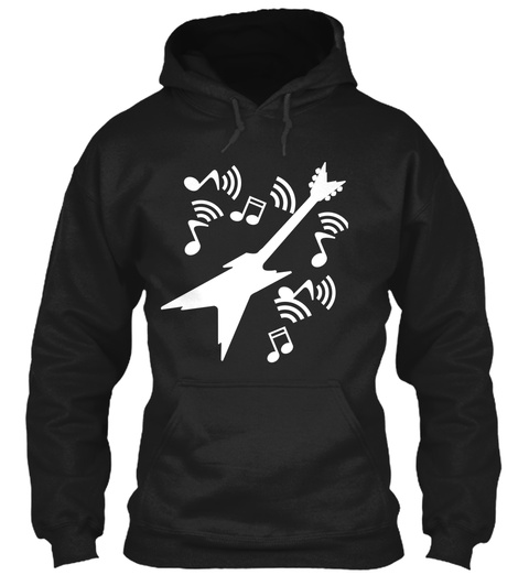 Hoodie Electric Guitar Music Black T-Shirt Front