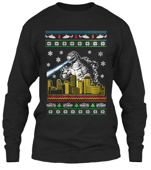 godzilla ugly christmas sweater black long sleeve t shirt front