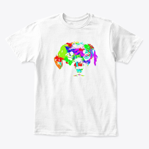 Colorful Doggy White T-Shirt Front