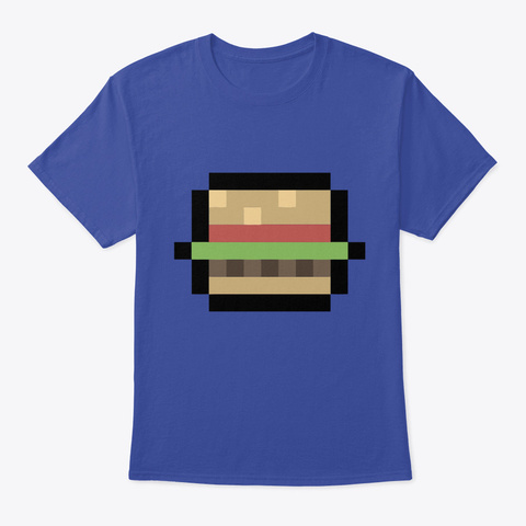 Cute Funny 8 Bit Burger Cartoon Art Ill Deep Royal T-Shirt Front