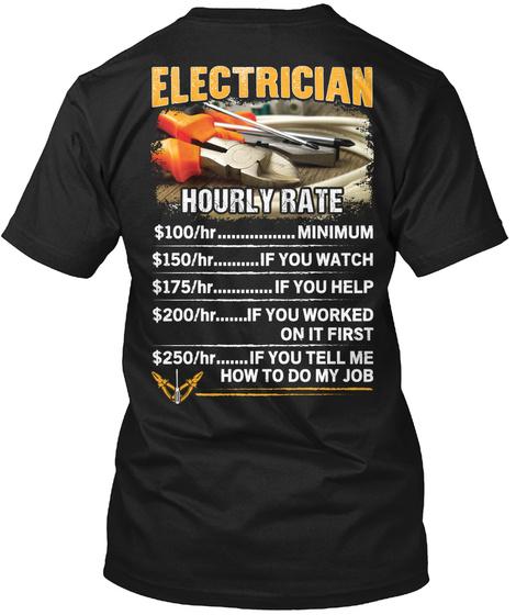 Awesome Electrician Shirt Black T-Shirt Back