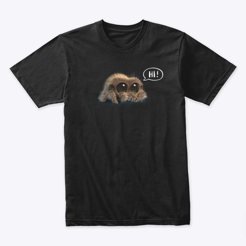 "Lucas The Spider   ""Hi"" Collection Black T-Shirt Front"
