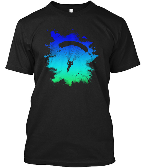 Mens Skydiving T Shirt With Cool Splash  Black T-Shirt Front