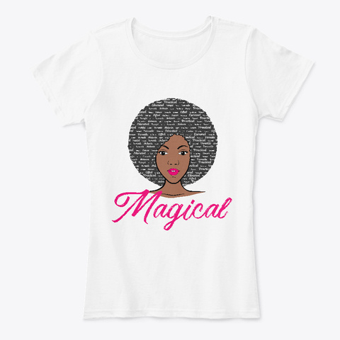 Magical Afro Girl With Word Art Hair White T-Shirt Front