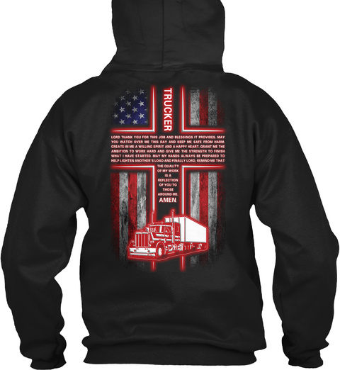Proud Trucker Black T-Shirt Back