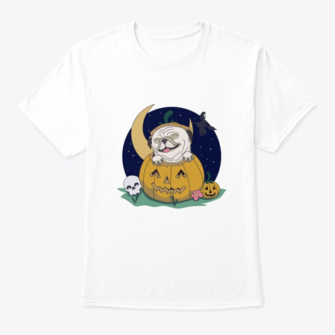 Halloween Pug White T-Shirt Front