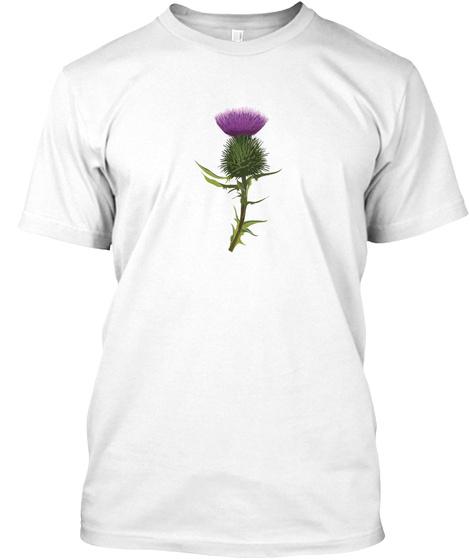 Scottish Thistle White T-Shirt Front