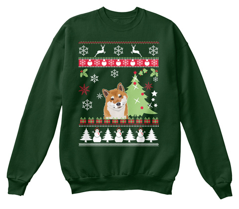 Shiba Inu Ugly Christmas Sweater Deep Forest  T-Shirt Front