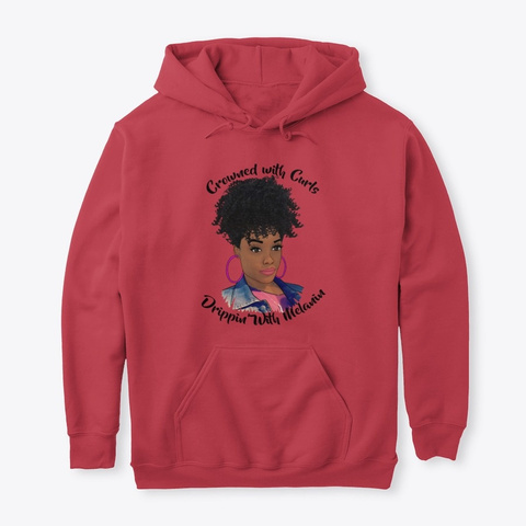 Crowned With Curls, Drippin With Melanin Cardinal Red T-Shirt Front