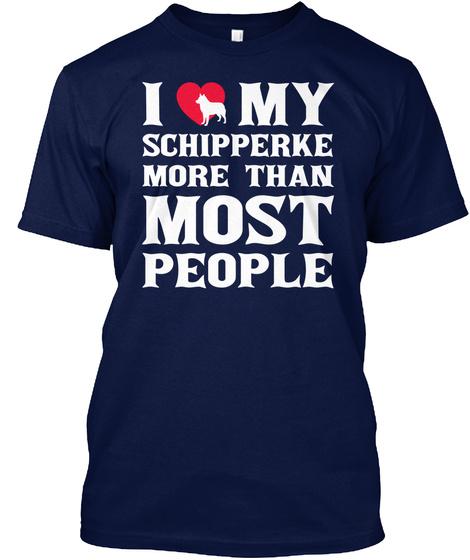 Schipperke Navy T-Shirt Front