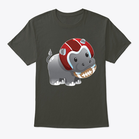 Hippo With Football Smoke Gray T-Shirt Front