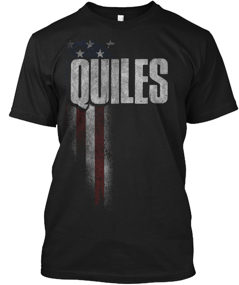 Quiles Family American Flag Black T-Shirt Front