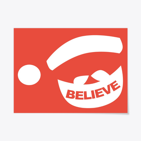 "Santa Claus ""Believe"" Design Red T-Shirt Front"