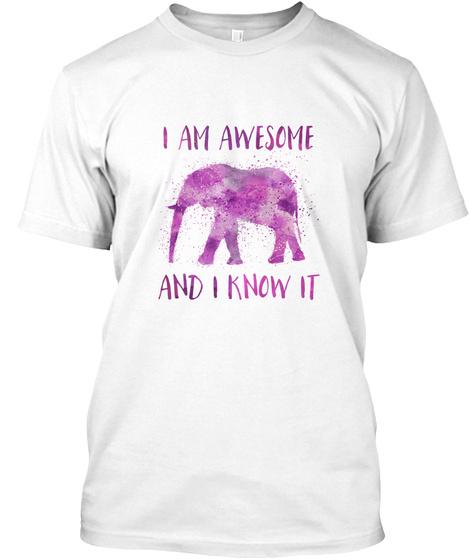 Awesome Elephant White T-Shirt Front