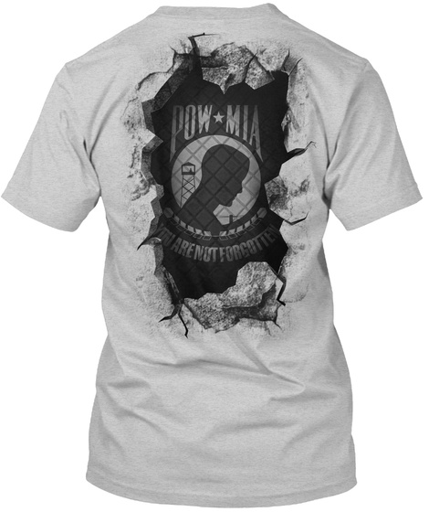 Pow*Mia You Are Not Forgotten Light Steel T-Shirt Back