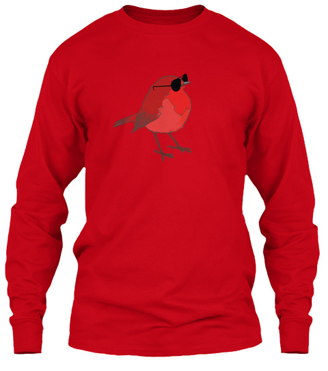 Funny Red Sparrow Bird  Little Nice Gift Red Long Sleeve T-Shirt Front