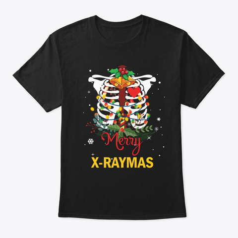Merry X Raymas Rad Tech Christmas Puns Black T-Shirt Front