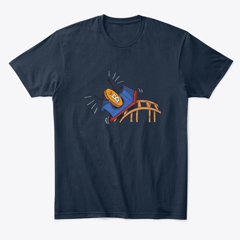 Bitcoin Rollercoaster Gift New Navy T-Shirt Front