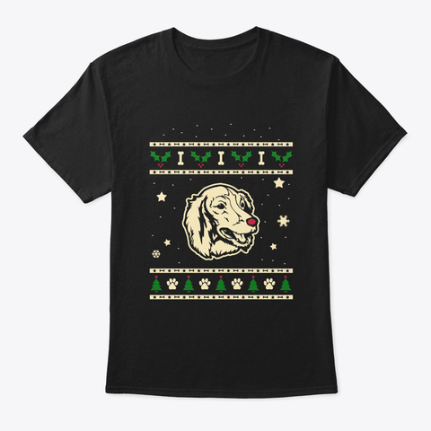 Christmas Saint Usuge Spaniel Gift Black T-Shirt Front