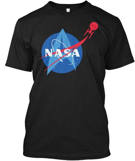 National Aeronautich  Space Logo Tshirts Black T-Shirt Front