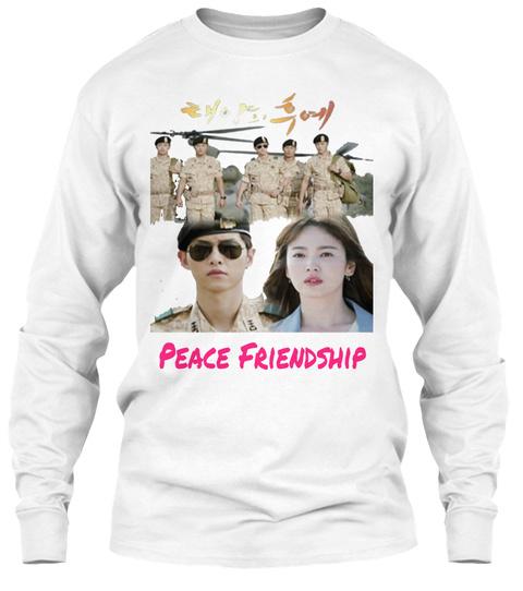 Peace Friendship White T-Shirt Front