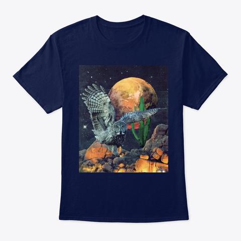 Owl In Flight   Full Moon In Arizona  Navy T-Shirt Front