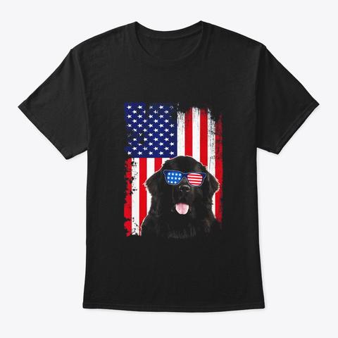 Vintage Newfoundland Dog American Flag Black T-Shirt Front