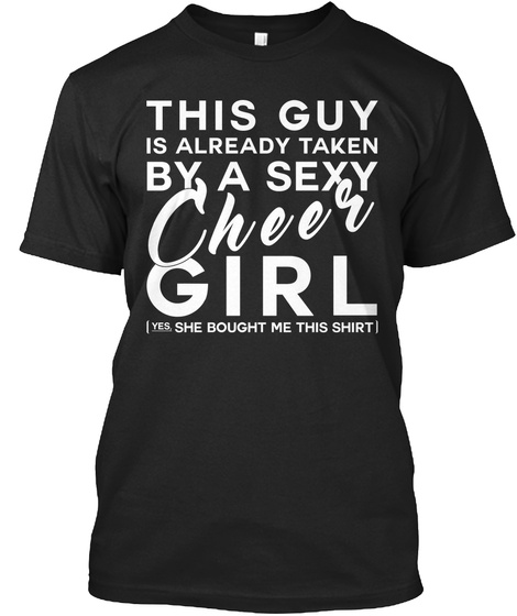By A Sexy Cheer Girl Black T-Shirt Front
