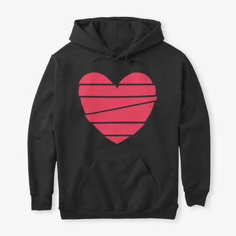 Red Heart Vector Graphic Art Black T-Shirt Front