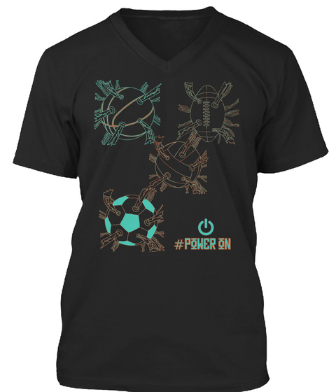 #Power On Black T-Shirt Front