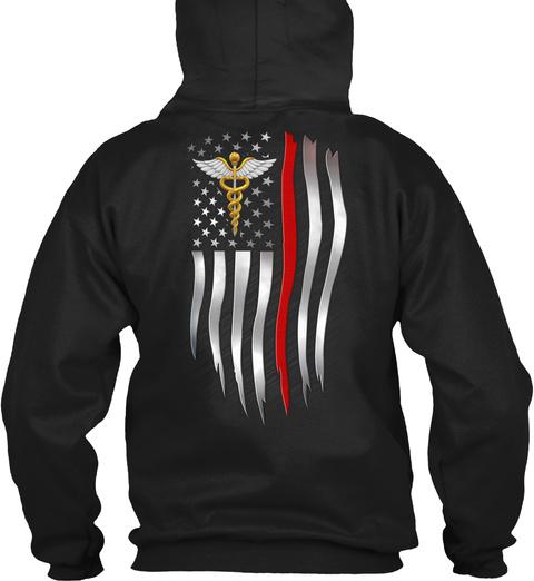 Nurse Usa Flag Black T-Shirt Back