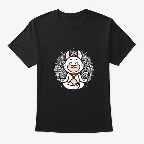 Yoga Namaste Katzen Katze  Black T-Shirt Front