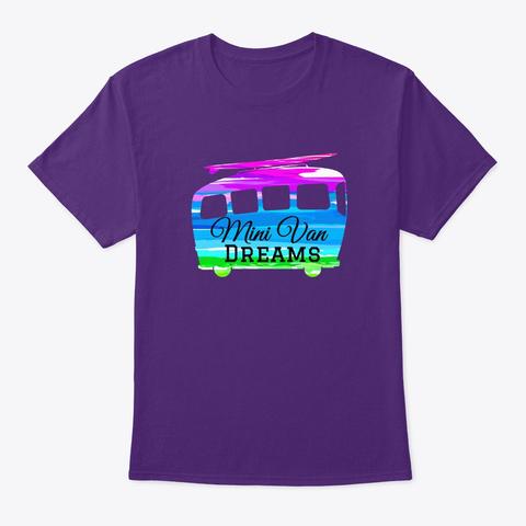 Mini Van Dreams Motor Home Surfing Car  Purple T-Shirt Front