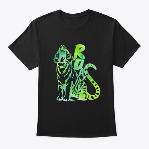 Roars     Tiger, Animal, Wild Animal Black T-Shirt Front