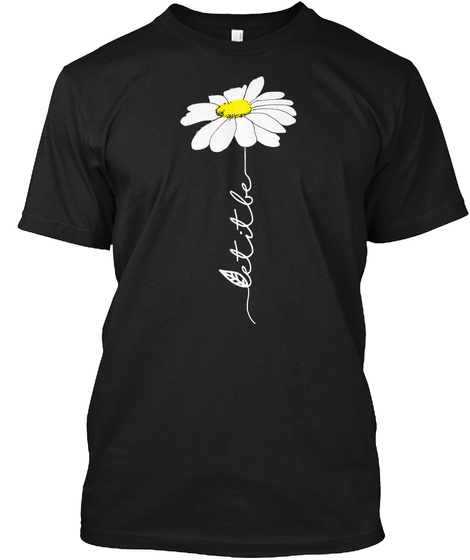 Let It Be Hippie Daisy Flower T Shirt Black T-Shirt Front