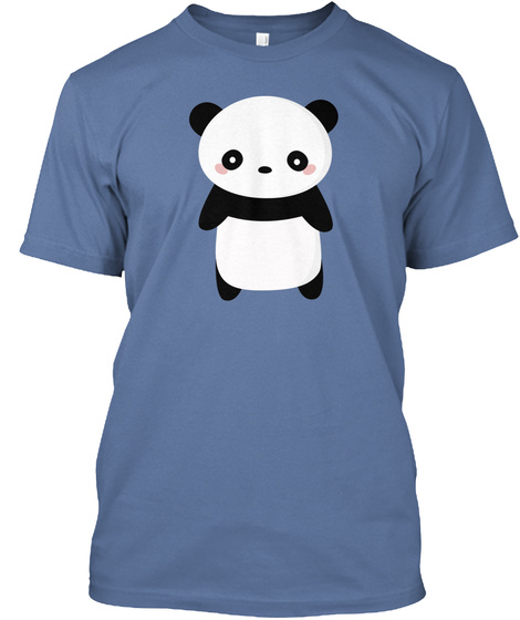 Kawaii And Cute Panda Bear T Shirt  Denim Blue T-Shirt Front