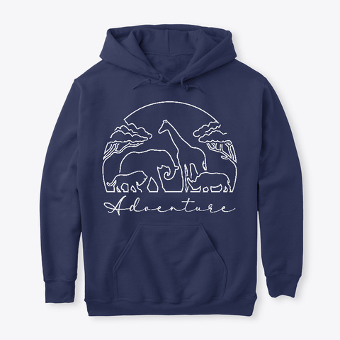 Adventure And Safari In Africa, Light Navy T-Shirt Front