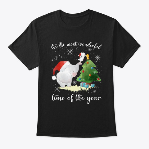Elephant With Christmas Tree Tshirt Black T-Shirt Front