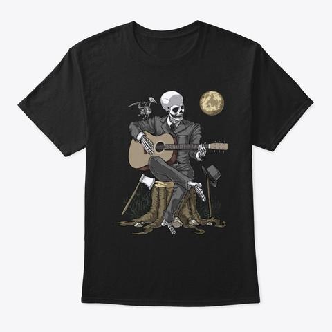 Skeleton Guitar Player Black T-Shirt Front