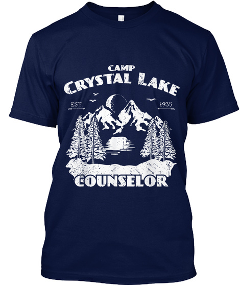Camp Crystal Lake Counselor Navy T-Shirt Front