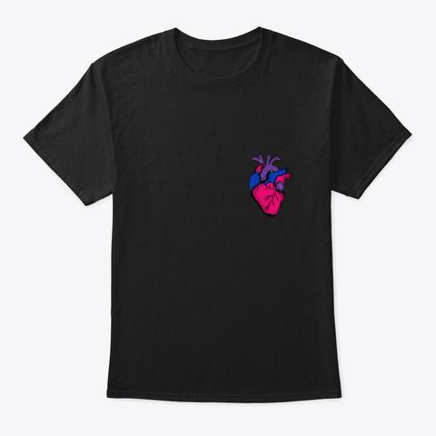 Bi Pride Flag Lgbt Party Retro Heart Gif Black T-Shirt Front