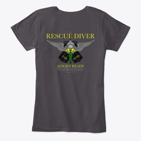 Pdc Rescue Shirt Woman's 1 Heathered Charcoal  T-Shirt Back