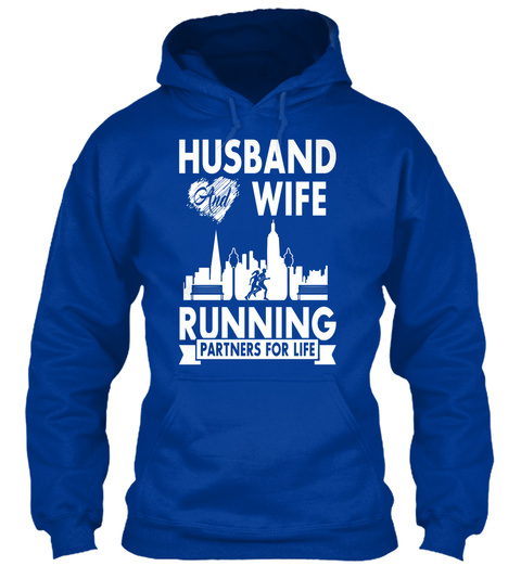 Husband And Wife Running Partners For Life Royal Blue T-Shirt Front