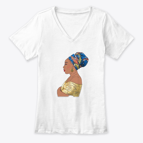 African Woman White T-Shirt Front